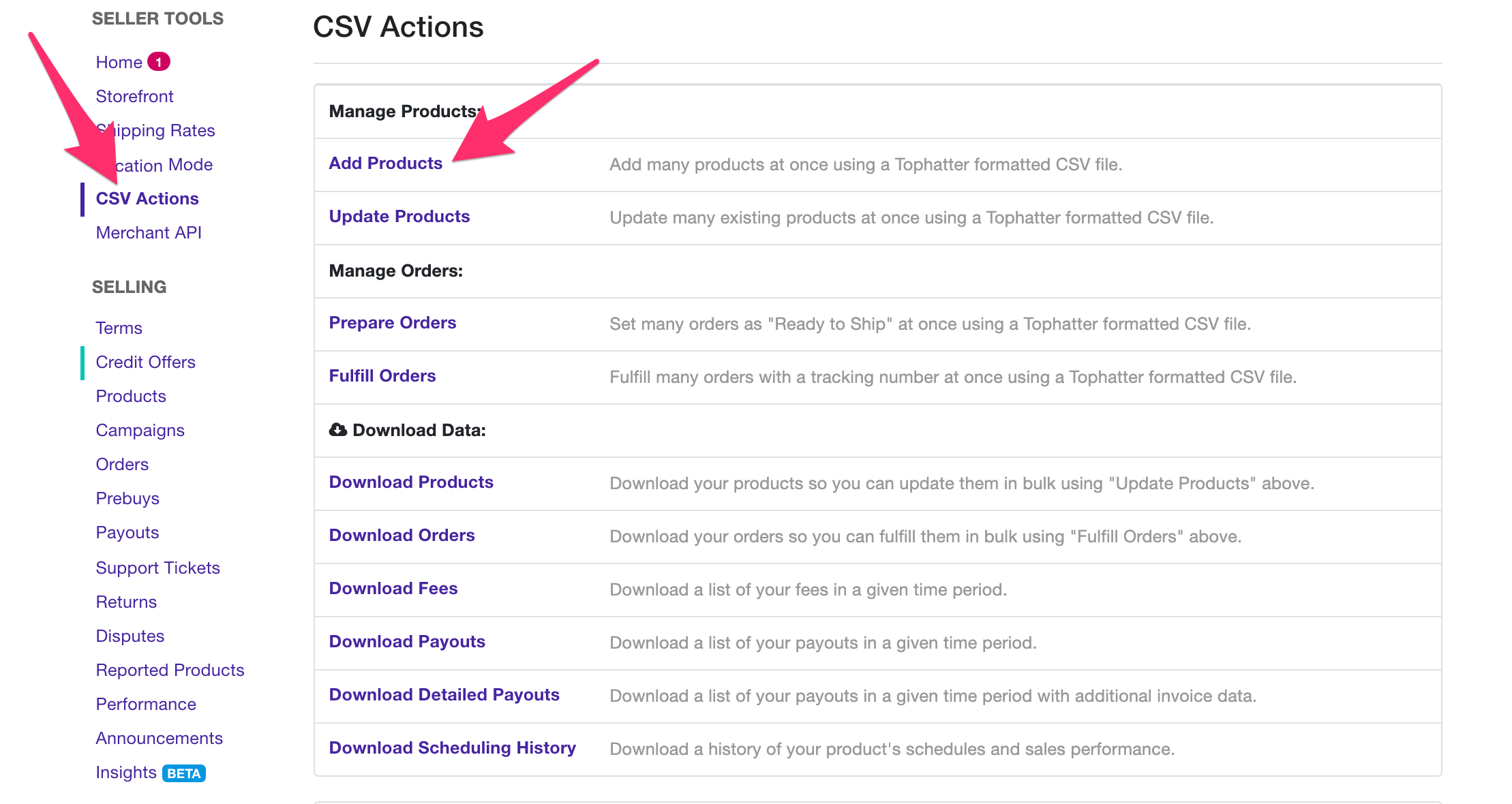 Tophatter Product CSV Actions